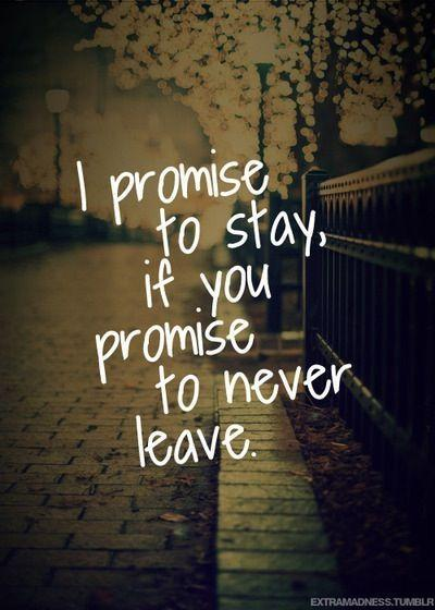 I promise to stay, if you promise to never leave Picture Quote #1