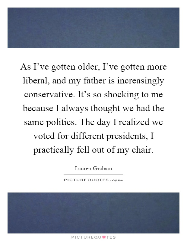As I've gotten older, I've gotten more liberal, and my father is increasingly conservative. It's so shocking to me because I always thought we had the same politics. The day I realized we voted for different presidents, I practically fell out of my chair Picture Quote #1