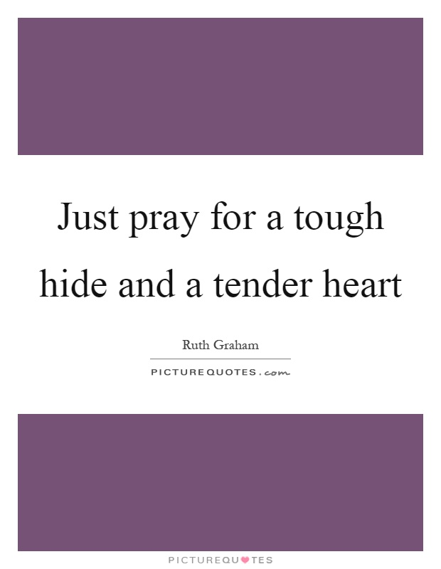 Just pray for a tough hide and a tender heart Picture Quote #1