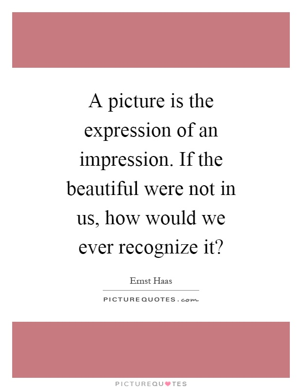 A picture is the expression of an impression. If the beautiful were not in us, how would we ever recognize it? Picture Quote #1