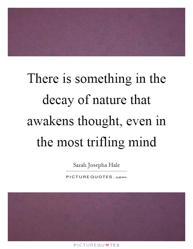 There is something in the decay of nature that awakens thought, even in the most trifling mind Picture Quote #1