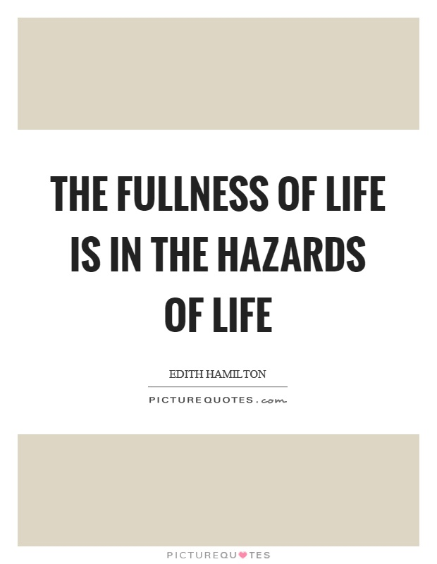The fullness of life is in the hazards of life Picture Quote #1