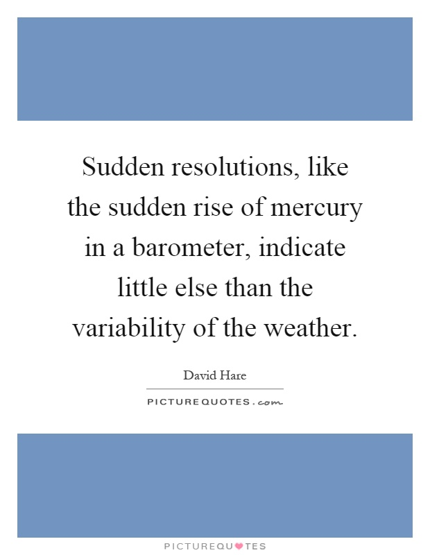 Sudden resolutions, like the sudden rise of mercury in a barometer, indicate little else than the variability of the weather Picture Quote #1