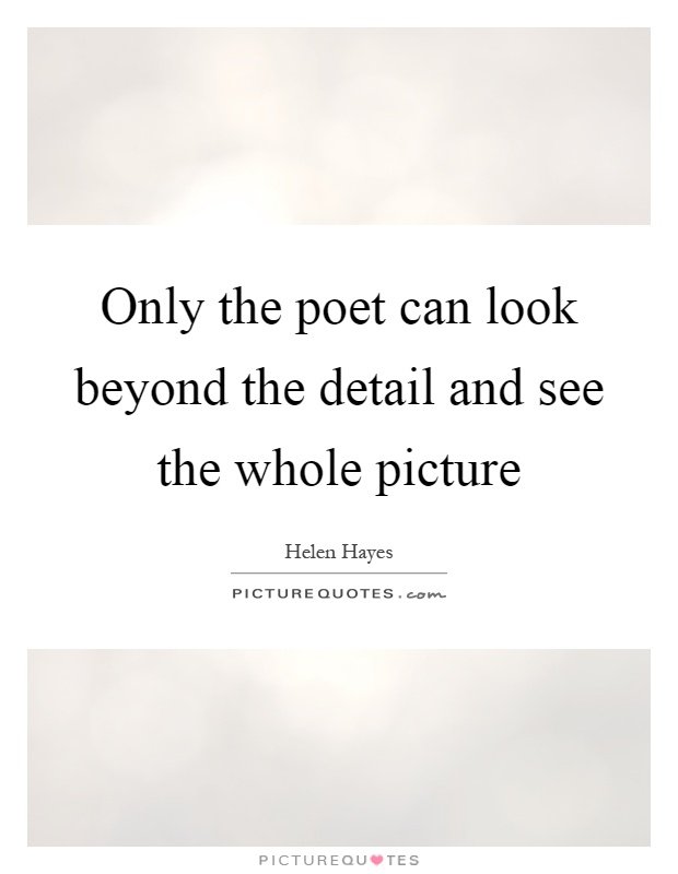 Only the poet can look beyond the detail and see the whole picture Picture Quote #1