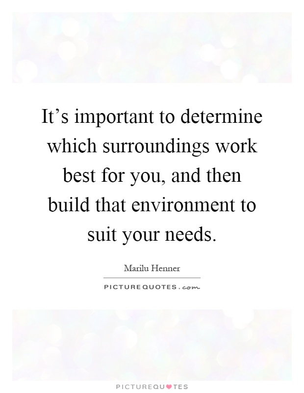 It's important to determine which surroundings work best for you, and then build that environment to suit your needs Picture Quote #1