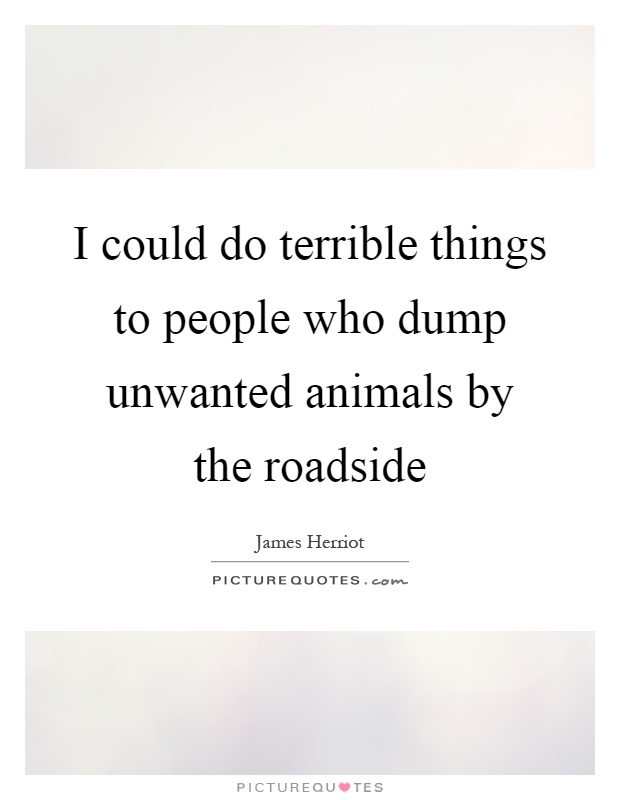I could do terrible things to people who dump unwanted animals by the roadside Picture Quote #1