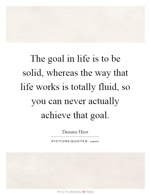 The goal in life is to be solid, whereas the way that life works is totally fluid, so you can never actually achieve that goal Picture Quote #1