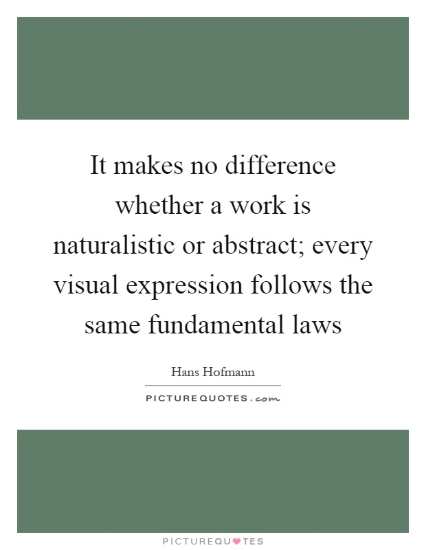 It makes no difference whether a work is naturalistic or abstract; every visual expression follows the same fundamental laws Picture Quote #1