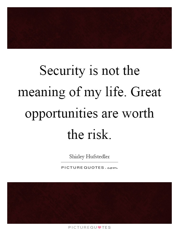 Security is not the meaning of my life. Great opportunities are worth the risk Picture Quote #1