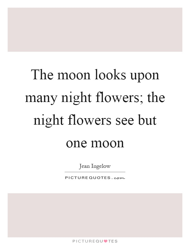 The Moon Looks Upon Many Night Flowers The Night Flowers See
