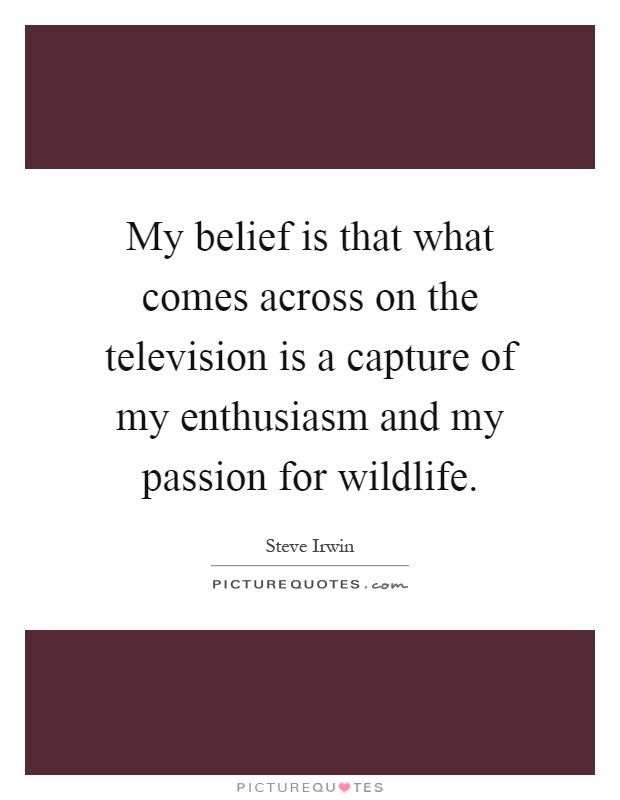 My belief is that what comes across on the television is a capture of my enthusiasm and my passion for wildlife Picture Quote #1