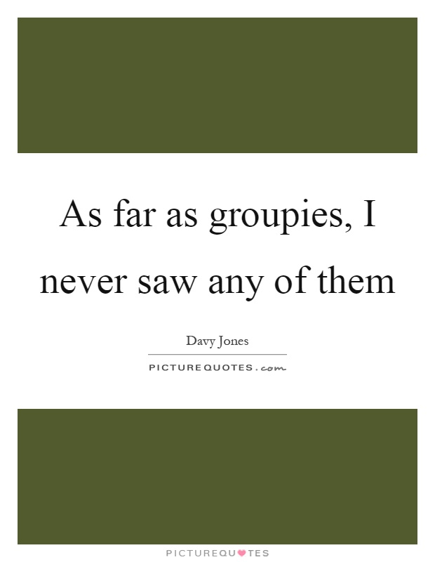 As far as groupies, I never saw any of them Picture Quote #1