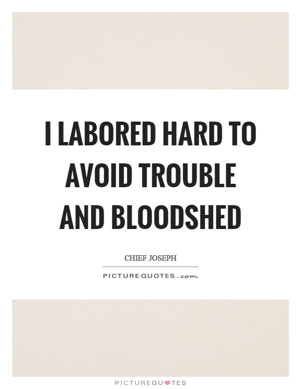 I labored hard to avoid trouble and bloodshed Picture Quote #1