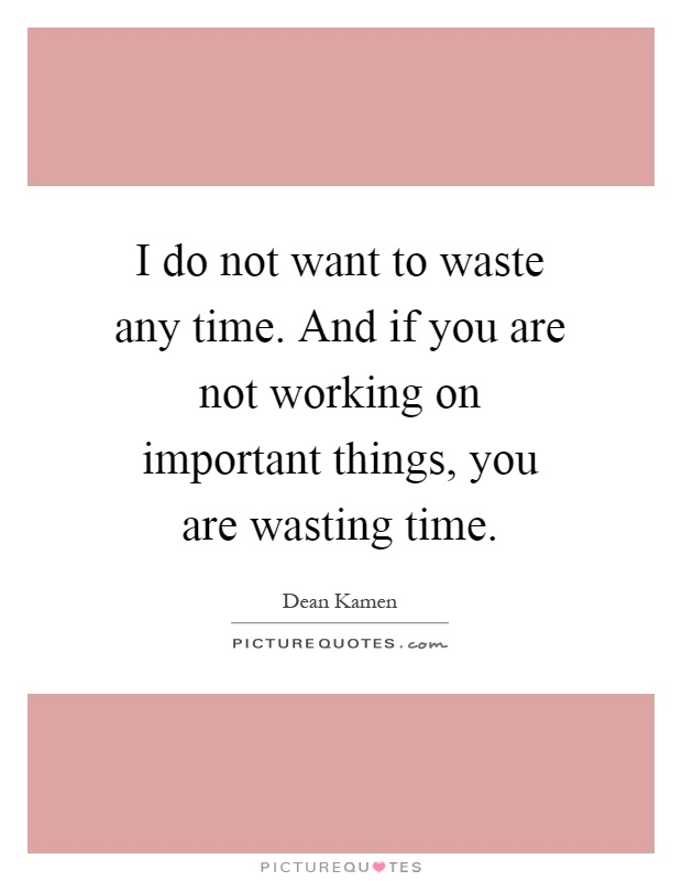 I do not want to waste any time. And if you are not working on important things, you are wasting time Picture Quote #1