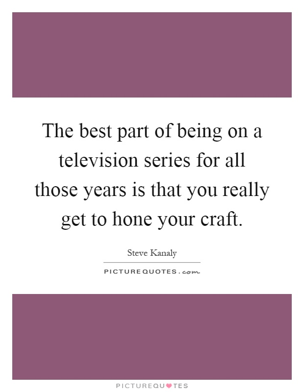 The best part of being on a television series for all those years is that you really get to hone your craft Picture Quote #1