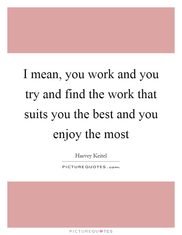 I mean, you work and you try and find the work that suits you the best and you enjoy the most Picture Quote #1