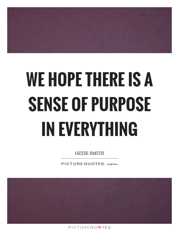 We hope there is a sense of purpose in everything Picture Quote #1