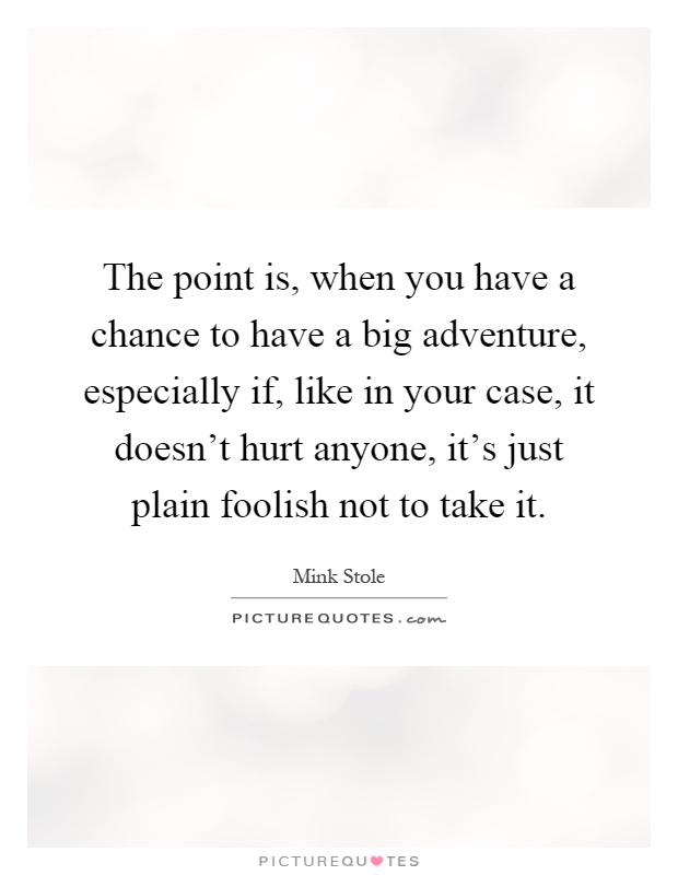 The point is, when you have a chance to have a big adventure, especially if, like in your case, it doesn't hurt anyone, it's just plain foolish not to take it Picture Quote #1