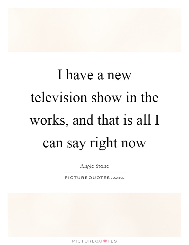 I have a new television show in the works, and that is all I can say right now Picture Quote #1