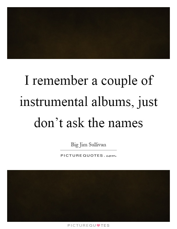 I remember a couple of instrumental albums, just don't ask the names Picture Quote #1