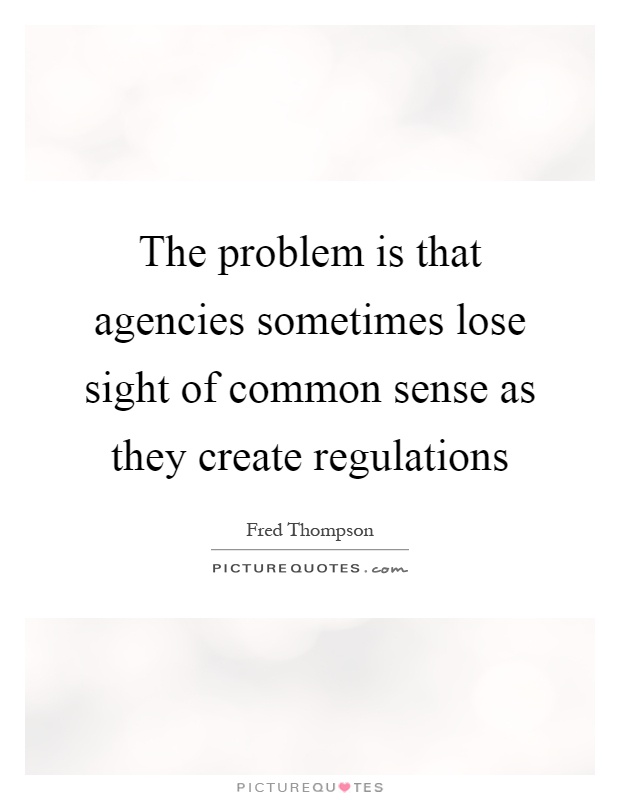 The problem is that agencies sometimes lose sight of common sense as they create regulations Picture Quote #1