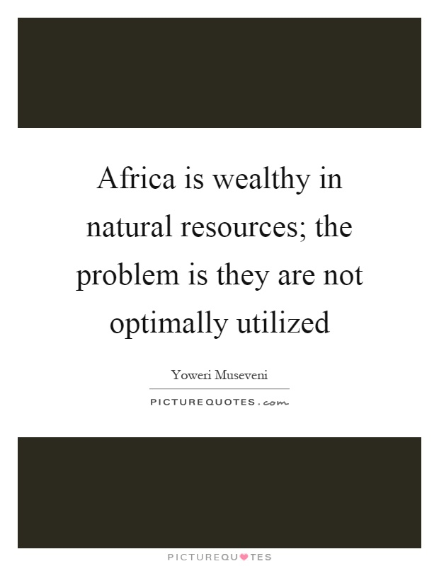 Africa is wealthy in natural resources; the problem is they are not optimally utilized Picture Quote #1