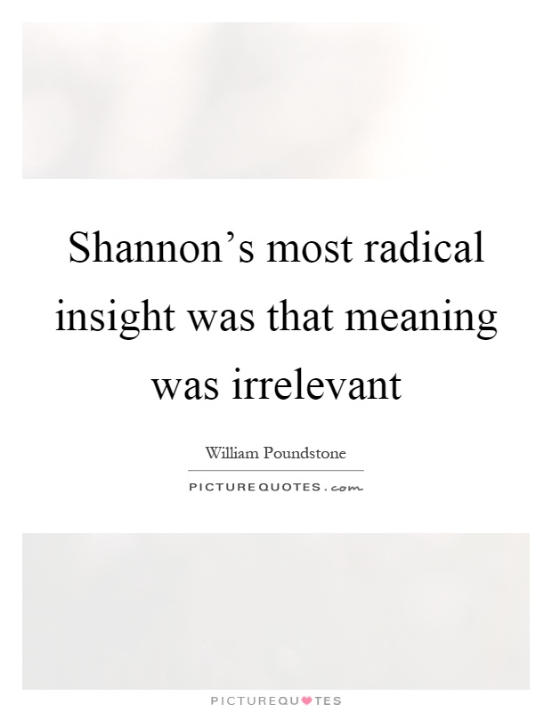 Shannon's most radical insight was that meaning was irrelevant Picture Quote #1