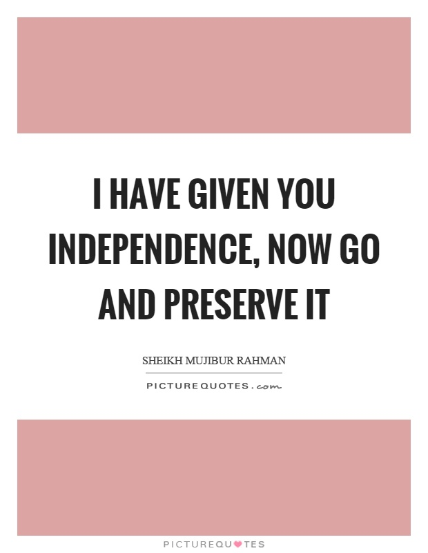 I have given you independence, now go and preserve it Picture Quote #1