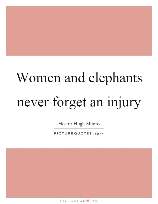 Women and elephants never forget an injury Picture Quote #1
