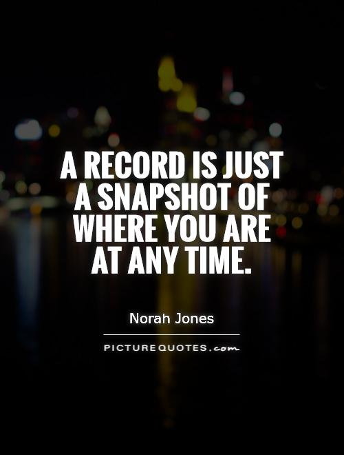 A record is just a snapshot of where you are at any time Picture Quote #1