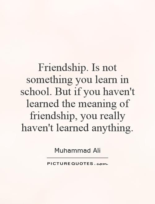 Friendship. Is not something you learn in school. But if you haven't learned the meaning of friendship, you really haven't learned anything Picture Quote #1