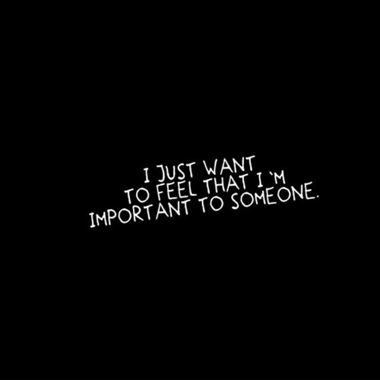 I just want to feel that I'm important to someone. Picture Quote #1
