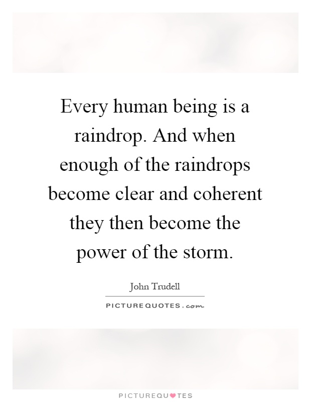 Every human being is a raindrop. And when enough of the raindrops become clear and coherent they then become the power of the storm Picture Quote #1