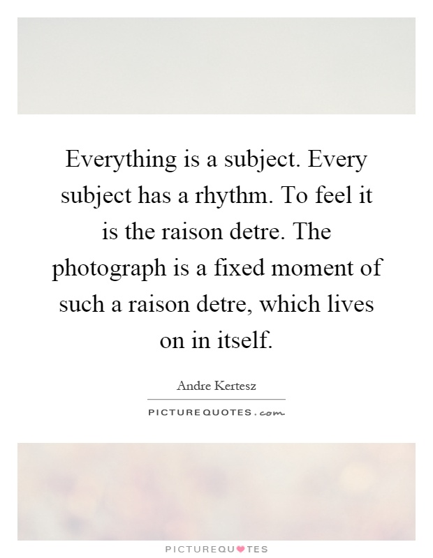 Everything is a subject. Every subject has a rhythm. To feel it is the raison detre. The photograph is a fixed moment of such a raison detre, which lives on in itself Picture Quote #1