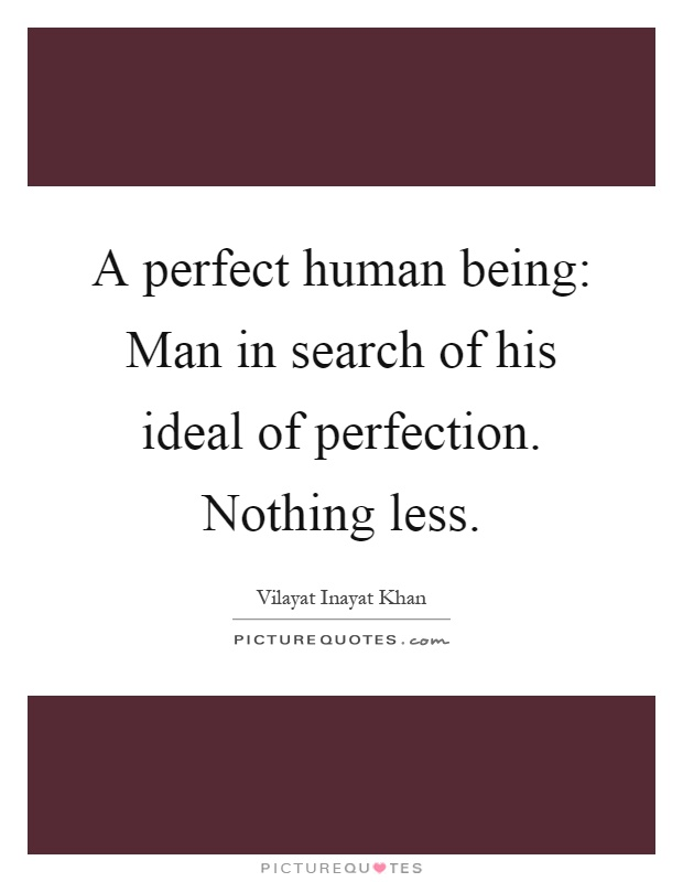 A perfect human being: Man in search of his ideal of perfection. Nothing less Picture Quote #1