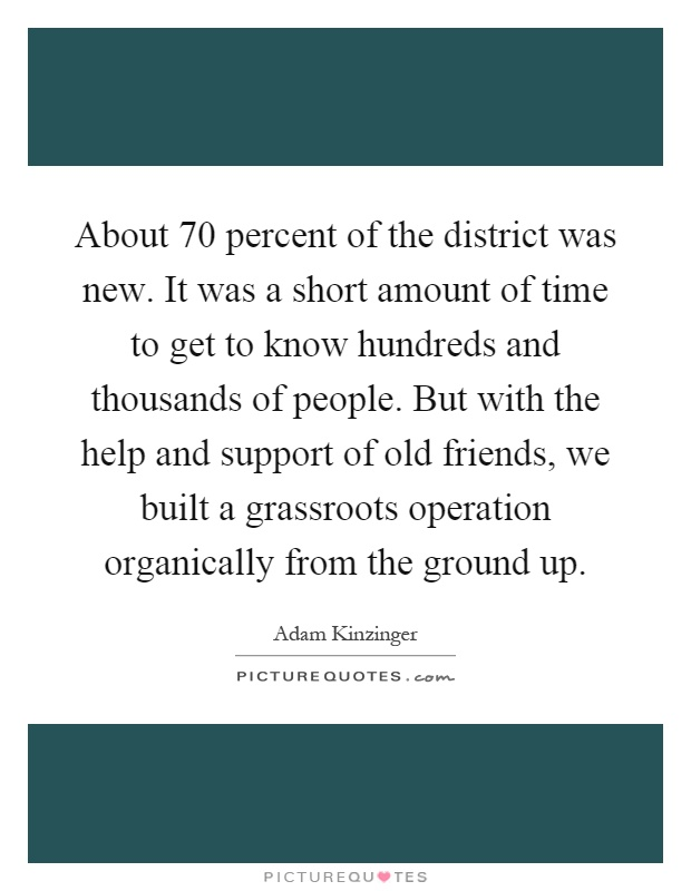 About 70 percent of the district was new. It was a short amount of time to get to know hundreds and thousands of people. But with the help and support of old friends, we built a grassroots operation organically from the ground up Picture Quote #1