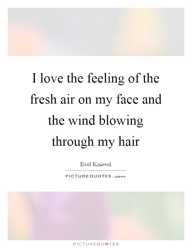 I love the feeling of the fresh air on my face and the wind blowing through my hair Picture Quote #1