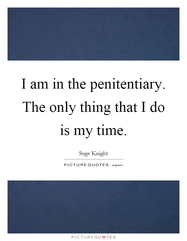 I am in the penitentiary. The only thing that I do is my time Picture Quote #1