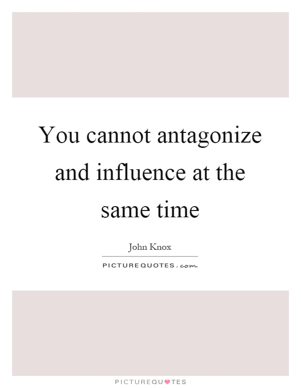 You cannot antagonize and influence at the same time Picture Quote #1