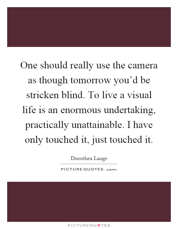 One should really use the camera as though tomorrow you'd be stricken blind. To live a visual life is an enormous undertaking, practically unattainable. I have only touched it, just touched it Picture Quote #1