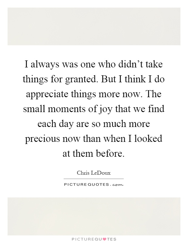 I always was one who didn't take things for granted. But I think I do appreciate things more now. The small moments of joy that we find each day are so much more precious now than when I looked at them before Picture Quote #1