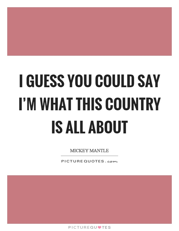 I guess you could say I'm what this country is all about Picture Quote #1