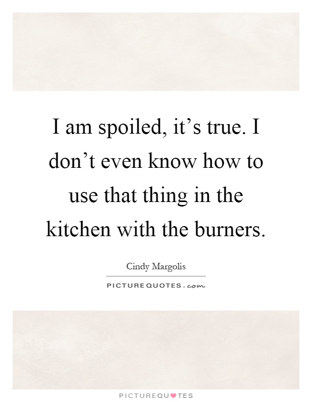 I am spoiled, it's true. I don't even know how to use that thing in the kitchen with the burners Picture Quote #1