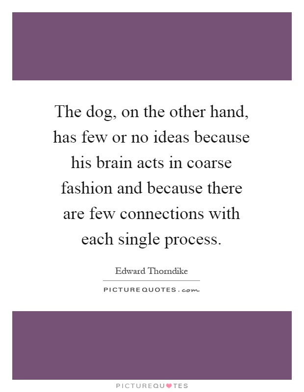 The dog, on the other hand, has few or no ideas because his brain acts in coarse fashion and because there are few connections with each single process Picture Quote #1