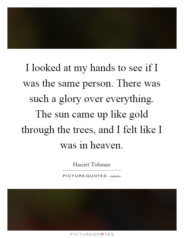 I looked at my hands to see if I was the same person. There was such a glory over everything. The sun came up like gold through the trees, and I felt like I was in heaven Picture Quote #1