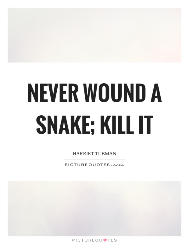 Never wound a snake; kill it Picture Quote #1