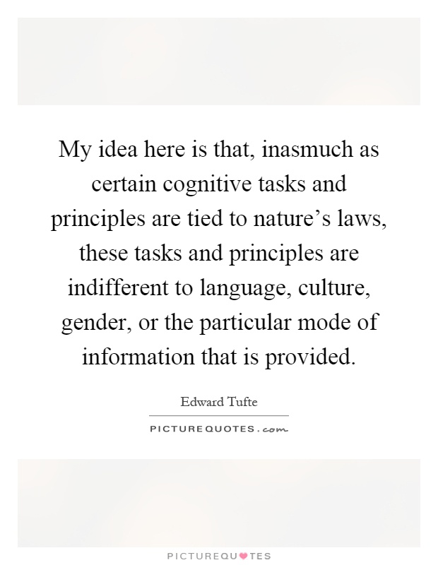My idea here is that, inasmuch as certain cognitive tasks and principles are tied to nature's laws, these tasks and principles are indifferent to language, culture, gender, or the particular mode of information that is provided Picture Quote #1