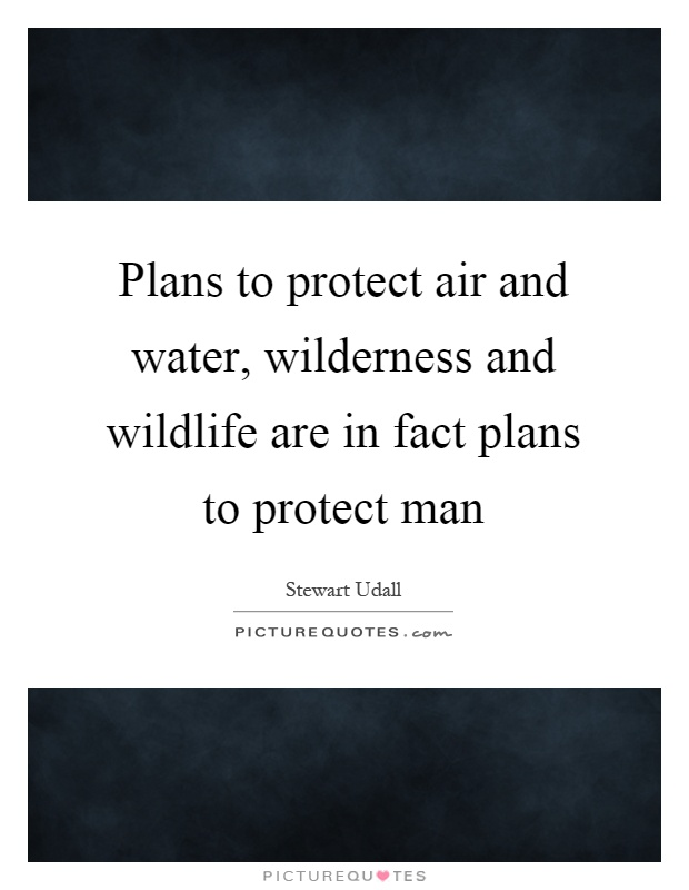 Plans to protect air and water, wilderness and wildlife are in fact plans to protect man Picture Quote #1