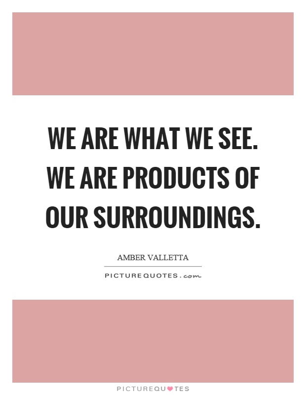 We are what we see. We are products of our surroundings Picture Quote #1