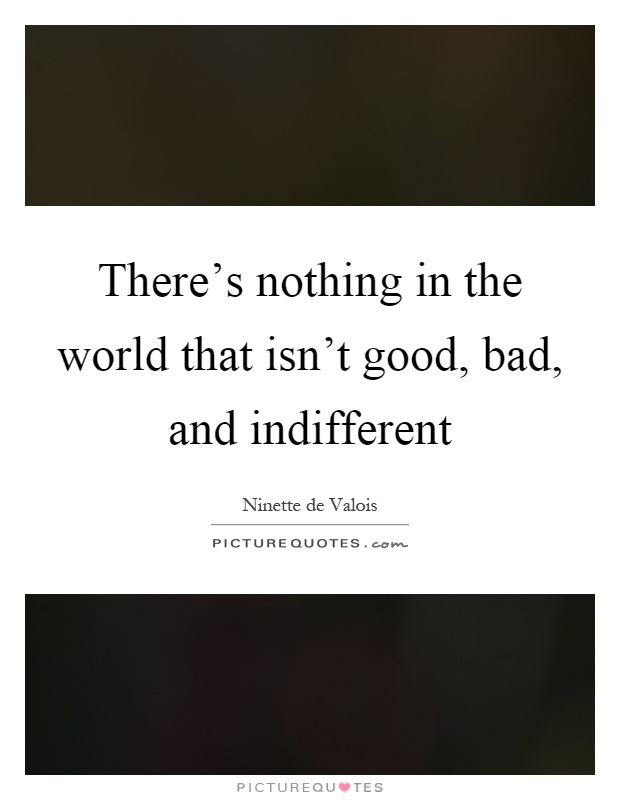 There's nothing in the world that isn't good, bad, and indifferent Picture Quote #1